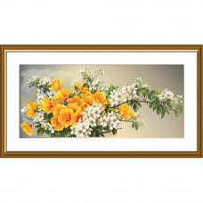 СР1500 Вишневе цвітіння. Нова Слобода. Набір для вишивки хрестиком на канві з нанесеним фоном